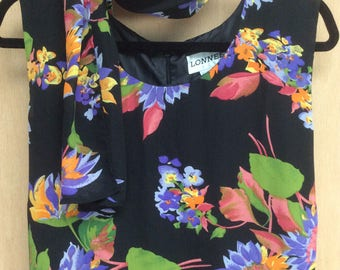 Black Hawaiian flowered full length dress 2X
