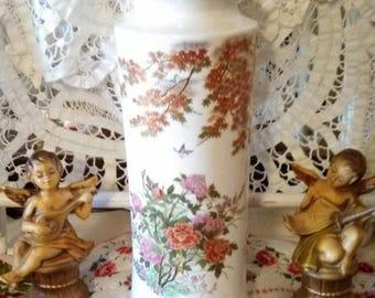 Summer Sale Vintage Japan Porcelain Floral Bird Gold Vase Urn With Robin Egg Gold Lid Flower Vase Asian