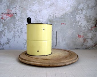 Triple Screen Flour Sifter , Vintage Hand Crank Sifter , Yellow Metal Flour Sieve , Retro Kitchen Gadget , Photo Food Prop