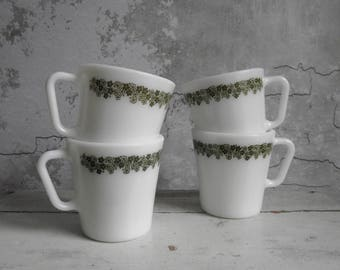 Vintage Pyrex Mugs Spring Blossom Green , Set of 4 Milk Glass Mugs , Vintage Kitchenware , 1970s Retro Kitchen