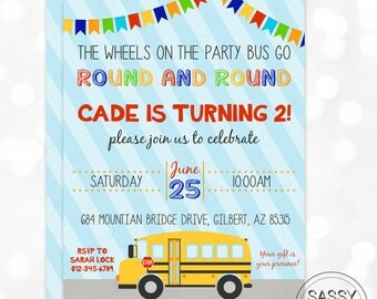 Party Bus Birthday Invitation Boy Birthday Invite School Bus Birthday Party Back To School DIY Printable Invite PDF Birthday Invitation Boy