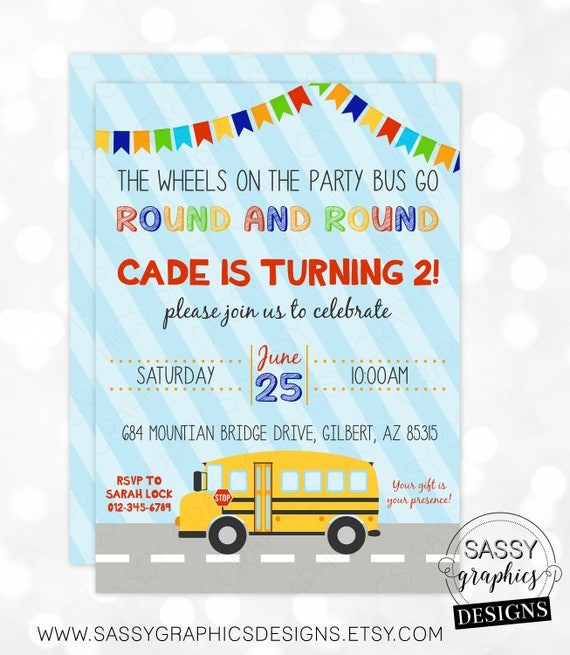 Party bus birthday invitation boy birthday invite school bus il570xn stopboris Images