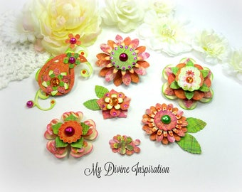 Basic Grey Sweet Threads Paper Embellishments, Paper Flowers for Scrapbook Layouts Cards Planners Journals Mini Albums Tags Paper crafts