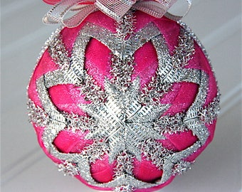 Quilted Christmas Ornament Ball/Pink and Silver Tinsel - Ice Princess