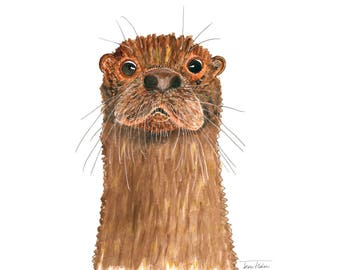 Brown otter art print, wild animal face mugshot picture illustration, watercolor painting sketchbook art, water mammal, wildlife outdoors