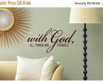 20% OFF With God all things are possible -faith-Vinyl Lettering wall words graphics Home decor itswritteninvinyl