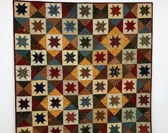 Handmade Quilt, Lap Quilt, Handmade Lap Quilt, Patchwork Scrappy Stars, Quilt - MW