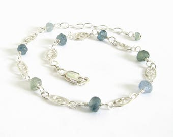 Rough Montana Sapphire Bracelet, Raw Sapphire and Sterling Silver Bracelet, Shades of Blue and Green Montana Sapphire Bridal Jewelry