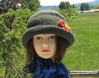Knit Felt Brimmed Bowler Crusher Hat Forest Green heather Mod Pin