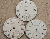 Antique Pocket Watch Faces Enameled set of 3
