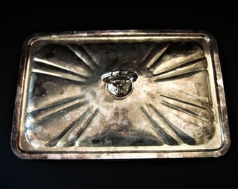 Tarnished Silver, Silver Pan Lid, Tarnished Silver Lid, Decorative Silver, Silver Lid, Vintage Silver Lid, Decorative Lid, Tarnished Lid