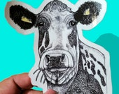 Large Cow Sticker,Farm Art, Dairy Cow, Holstein original artwork, Glossy handmade Sticker, Country, Primitive, Western, Rustic art, Beef