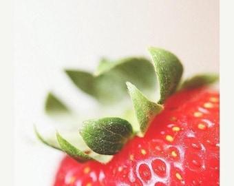 Kitchen Art: Strawberry Fine Art Food Photography Art for Kitchen Fruit Still life photography, Macro Red Fruit Print Strawberry Art