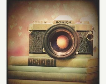 Still Life Photography: vintage camera girl Fine Art Photography pink photo Camera Vintage camera print Book art Camera Decor
