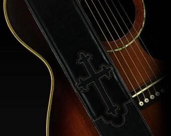 Black Leather Guitar Strap, Cross Guitar Strap:  Black Halens Cross Guitar Strap