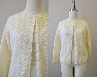 1960s Cream Lacy Knit Cardigan