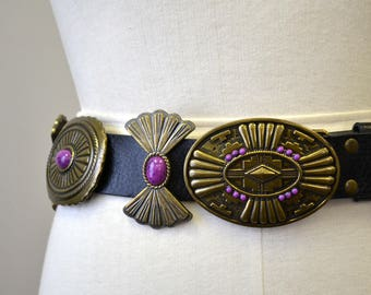 1980s Concho Leather Belt
