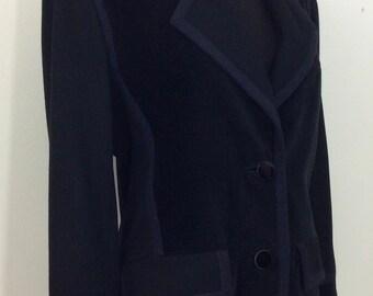 Yves Saint Laurent Rive Gauche Black Corduroy and Melton Mix Blazer Jacket