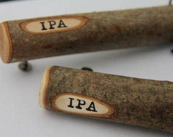 beer stick - IPA - bottle opener - made from maple with bark on