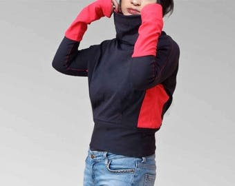 Sweater shirt top with extra long sleeves, Cowl neck in dark red