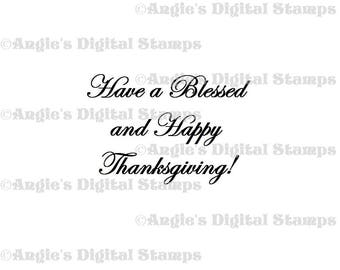Have a Blessed Thanksgiving Quote Digital Stamp Image