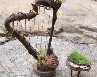 Fairy Garden Kit HARP with Bench STOOL Dollhouse Miniature Furniture Terrarium House Decor