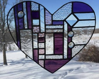 Pretty in Purple:  Heart Suncatcher