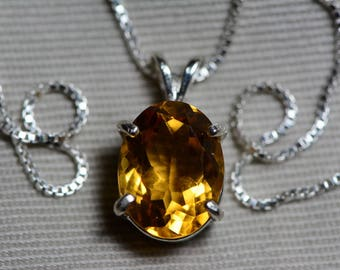 "Citrine Necklace, 4.21 Carat Yellow Citrine Pendant On 16"" Sterling Silver Necklace, November Birthstone, Genuine Citrine Jewelry"
