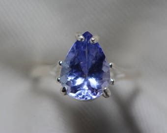 Tanzanite Ring, 3.01 Carat Tanzanite Solitaire Ring, Sterling Silver, Certified, Pear Cut, Birthday Anniversary Christmas Engagement