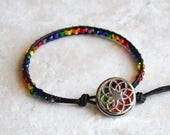 rainbow seed of life leather wrap bracelet, sacred geometry, yoga bracelet, unique gift, beaded bracelet, meditation jewelry, pride