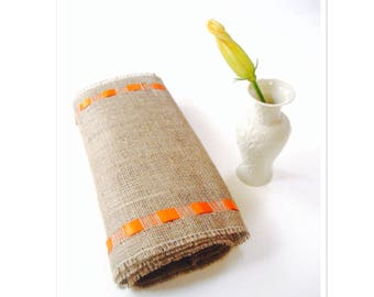 Outdoor Burlap Table Runner with Orange Ribbon -  New Fresh Decor - Rustic Chic Table Accessory