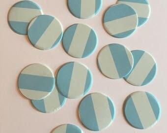 "1"" pre-cut CIRCLE CONFETTI (100 pc)  --  Aqua/Pastel Blue Stripe --  create you own garland, envelope seals, favor tags & more!"