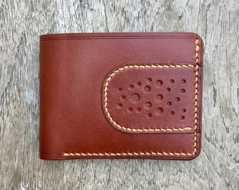 Tri Wallet - Brown Bridle leather - mens leather wallet - slim wallet - front pocket wallet - mens leather goods - handmade - made in usa