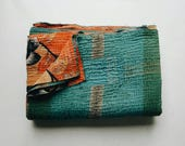 Turquoise and Orange Kantha Quilt - Bohemian Bedspread - Boho Home Decor
