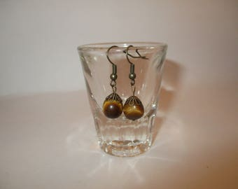 antique gold tiger eye earrings