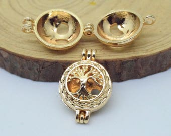 Tree Of Life Bead Cage-5pcs 15x22mm Gold Plated  Alloy Essential Oil Diffuser Pendant Perfume Locket Hollow Pearl Bead Cage Pendant C8493