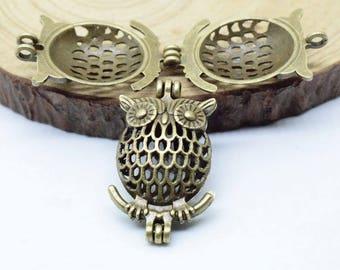 Luck Owl Bead Cage-5pcs 24x38mm Antique Bronze Alloy Essential Oil Diffuser Pendant Perfume Locket Hollow Pearl Bead Cage Pendant C8504