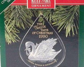 1990 Seven Swans A Swimming, Hallmark Ornament, Number 7 in the Twelve Days of Christmas, Acrylic Ornament