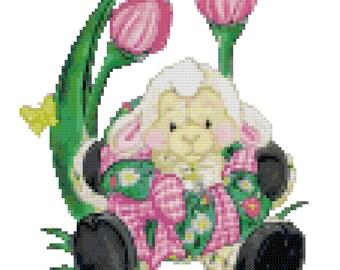 An Easter Lamb Cross Stitch Pattern