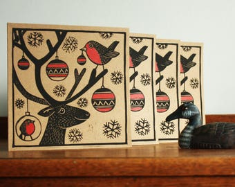 Set of 4 Cards, Reindeer, Robins and Baubles, Christmas Linocut Card, Blank Greeting Card, Brown Kraft Card, Free Postage in UK,