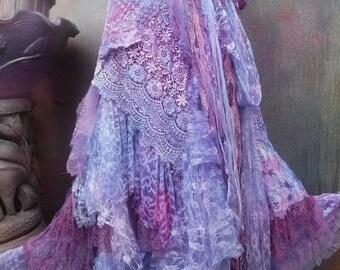 20%OFF wedding, bridal,tattered skirt, boho, fantasy, stevie nicks, bohemian skirt, gypsy skirt,lilac, purple, lace skirt, bellydance,s, m