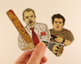 shaun of the dead stickers laptop labels tagsedgar wright simon pegg nick frost zombie illustration