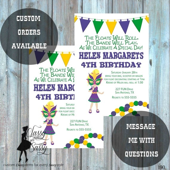 Mardi Gras Birthday Party Invitation, Mardi Gras Party, Parade party,  New Orleans Baby, New  -190