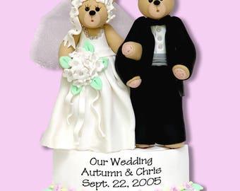 Belly Bear Bride & Groom HANDMADE Polymer Clay Personalized WEDDING Ornament
