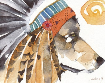 WOLF greeting card watercolor spirit TOTEM animal Native American 'War Bonnet'
