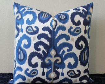 "Duralee Ikat in Shades of Blue, Tan and Off White - 20"" x 20"" Decorative Designer Pillow Cover"