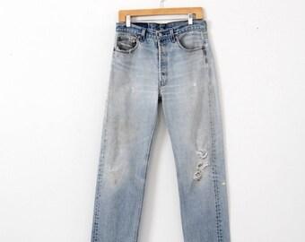 vintage 501xx Levi's jeans, distressed denim jeans, 32 x 30