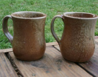 2 Salt Glazed Pottery Coffee Mugs Brown Speckled