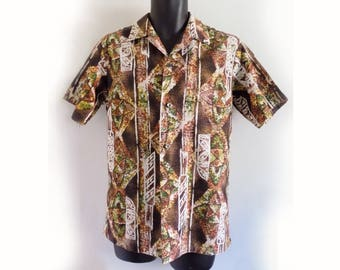 1950s Diamond Head Cotton Hawaiian shirt / Loop Collar / Waikiki / coconut buttons / Brown-Green-white / M /