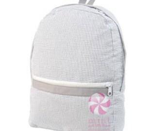 Grey Seersucker Medium Backpack